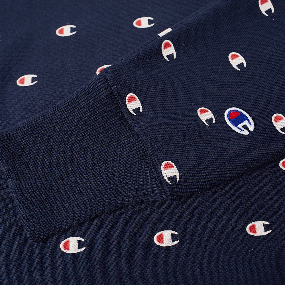champion reverse weave all over embroidered crew sweat navy. Black Bedroom Furniture Sets. Home Design Ideas