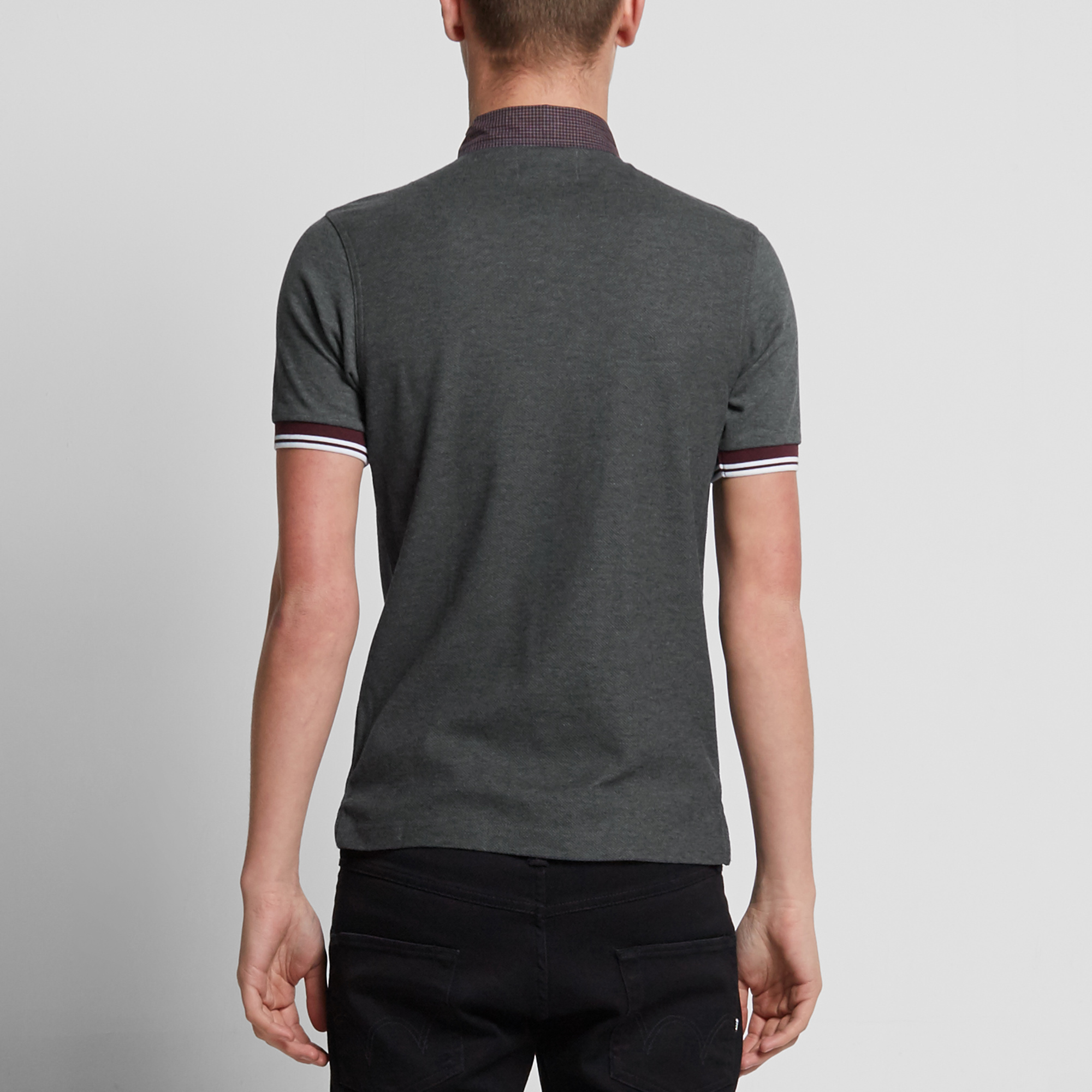 fred perry gingham trim polo graphite marl. Black Bedroom Furniture Sets. Home Design Ideas