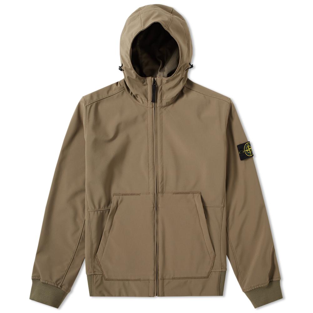 Stone Island Soft Shell Hooded Jacket (Tortora)