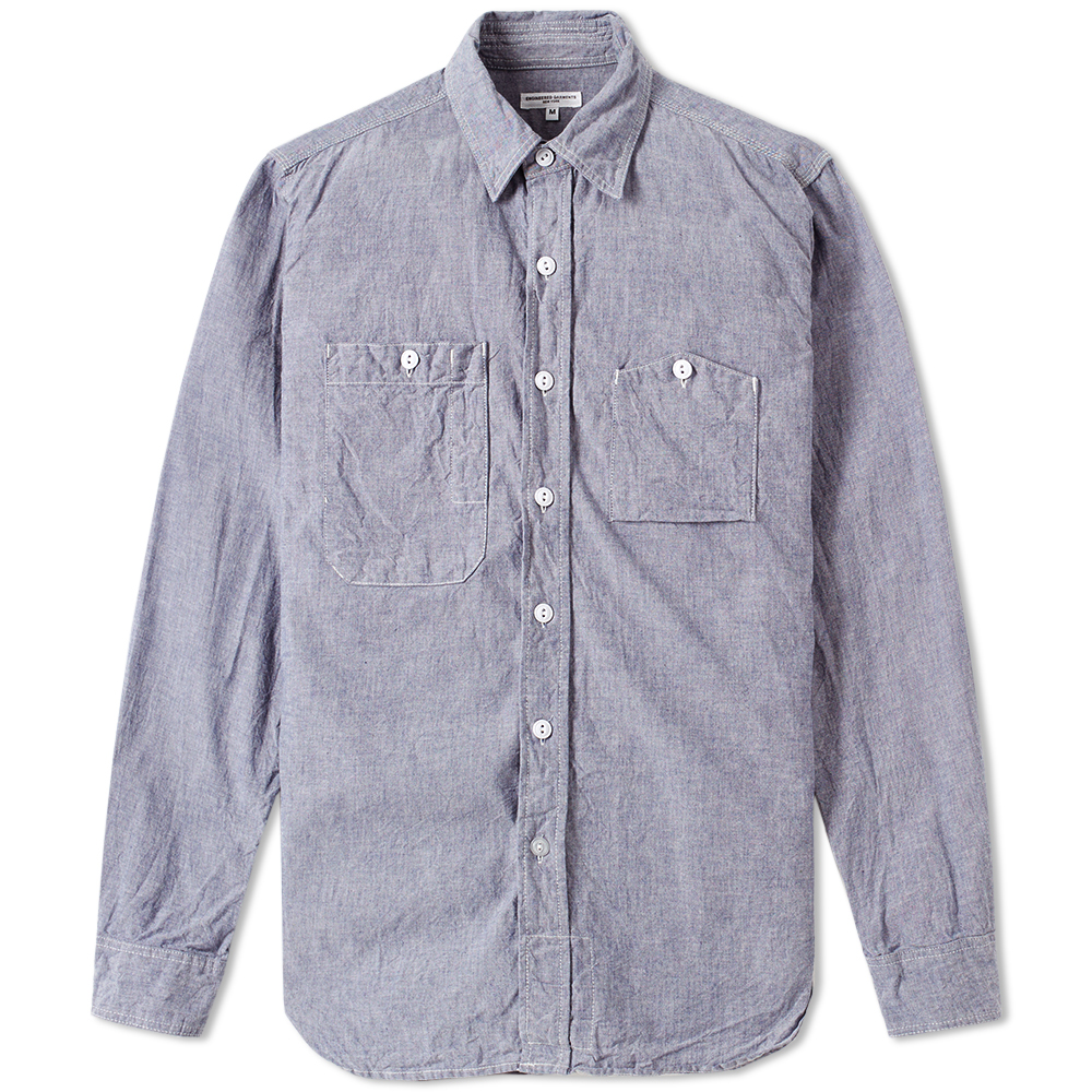 Engineered Garments Work Shirt Blue Cotton Chambray