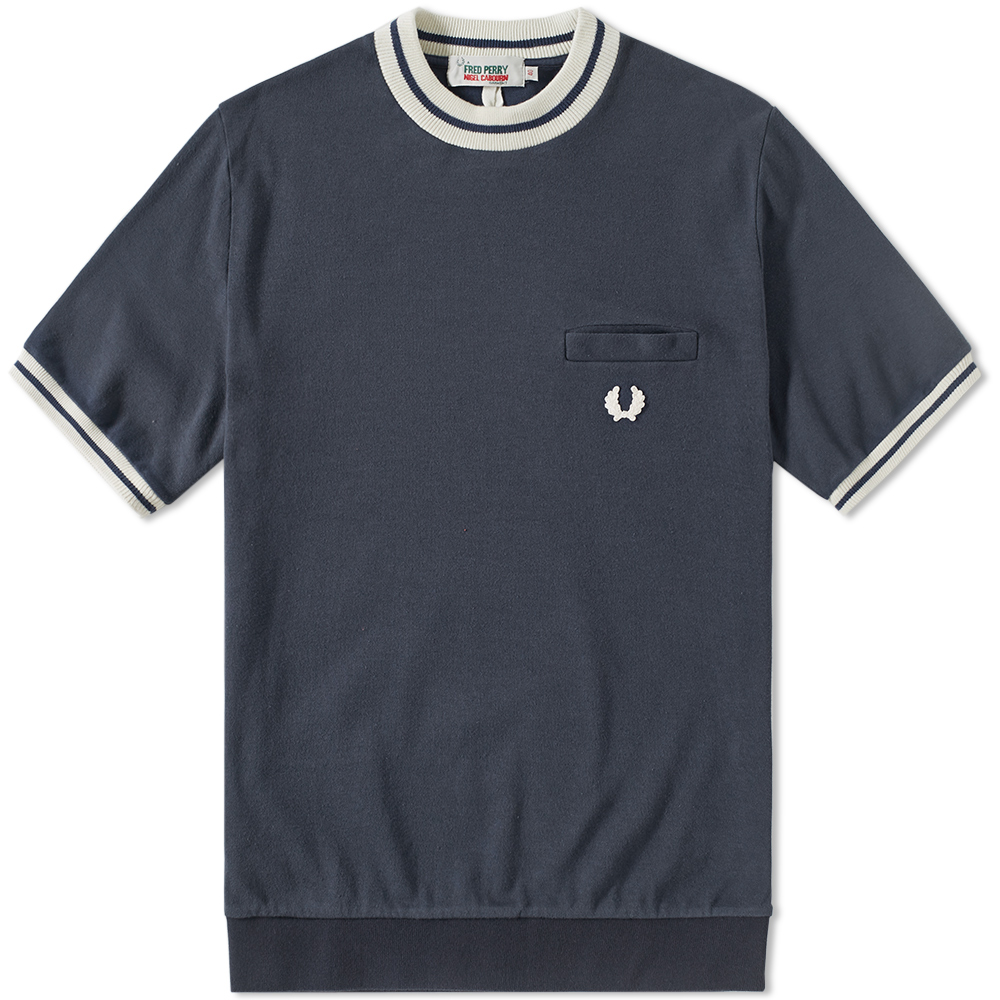 fred perry x nigel cabourn short sleeve high crew pullover inky blue. Black Bedroom Furniture Sets. Home Design Ideas
