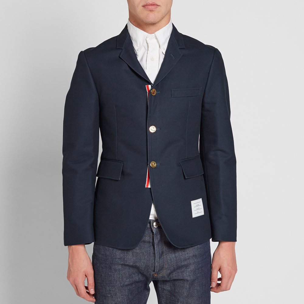 Thom Browne Unconstructed Classic Sport Coat (Navy Twill)