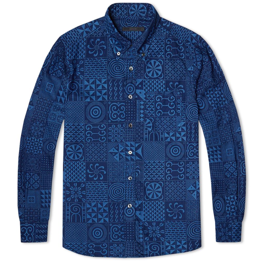 Sophnet Geometric Pattern Oxford Button Down Shirt Indigo