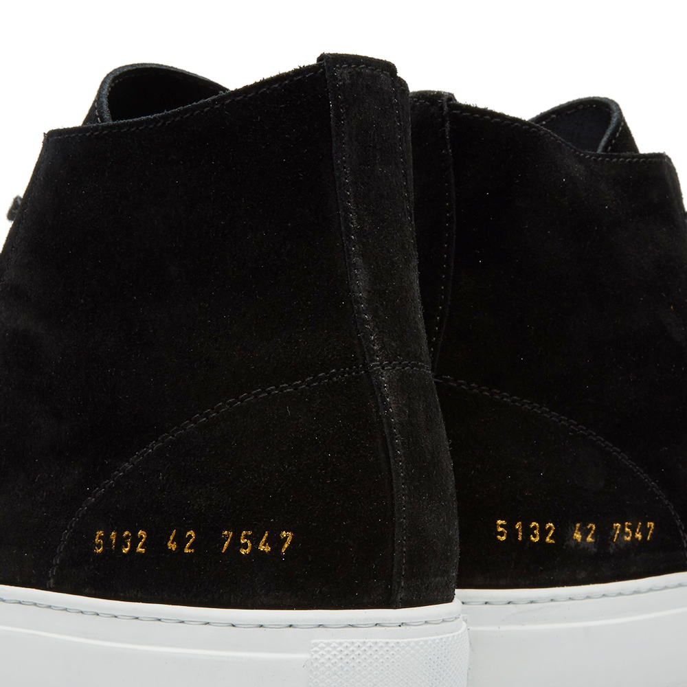 common projects tournament high Common project's all-black tournament super high sneakers make a sleek statement this classic silhouette is now stacked on a chunky black rubber flatform for a modern twist a zip fastening at the heel makes it easy to slip them on and off, while the gold serial number is a defining finisher details: high-top buffed.