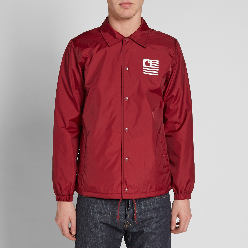 Carhartt state coach jacket red for Coach jacket