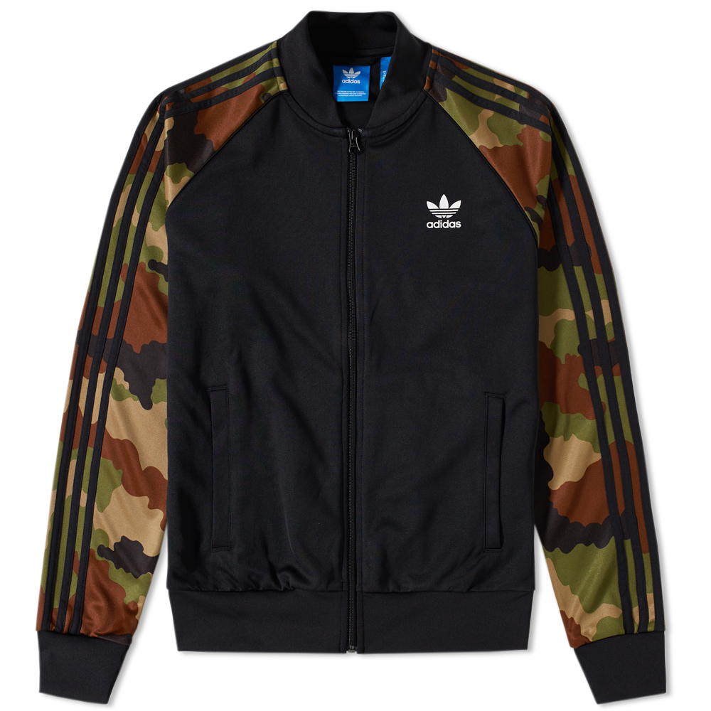 adidas essentials camo superstar track top black earth khaki. Black Bedroom Furniture Sets. Home Design Ideas