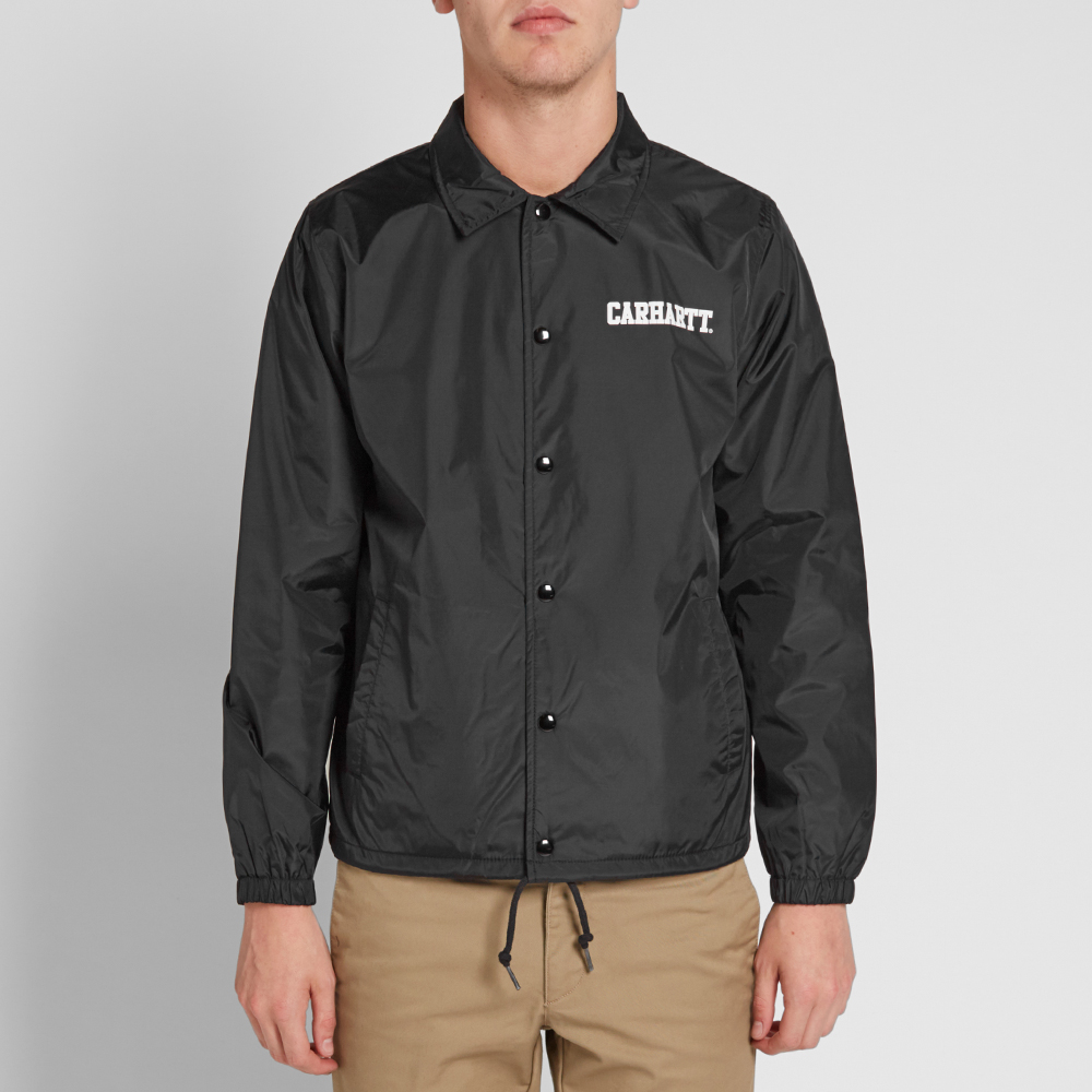 Carhartt college coach jacket black for Coach jacket