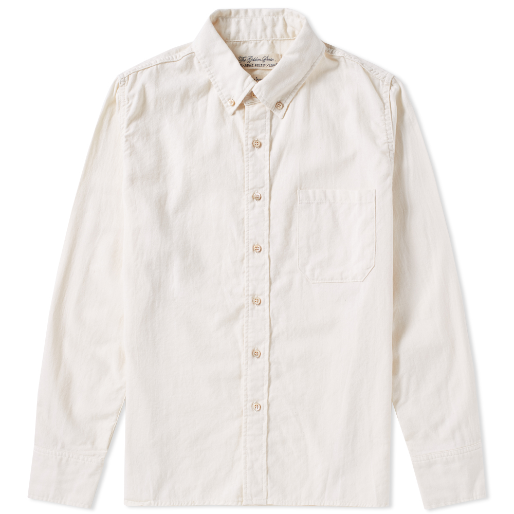 Remi Relief Button Down Flannel Shirt (Off White)
