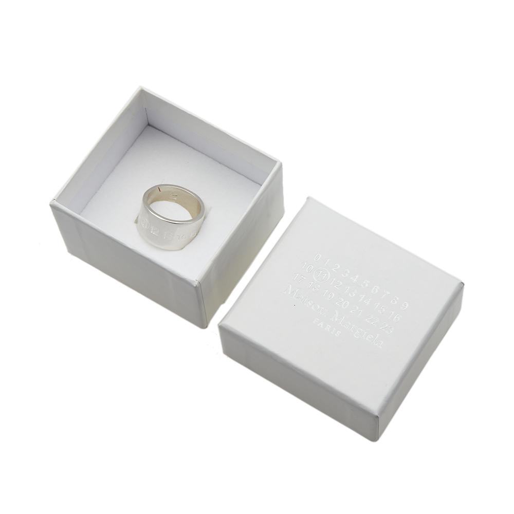 maison margiela 11 logo wide band ring silver