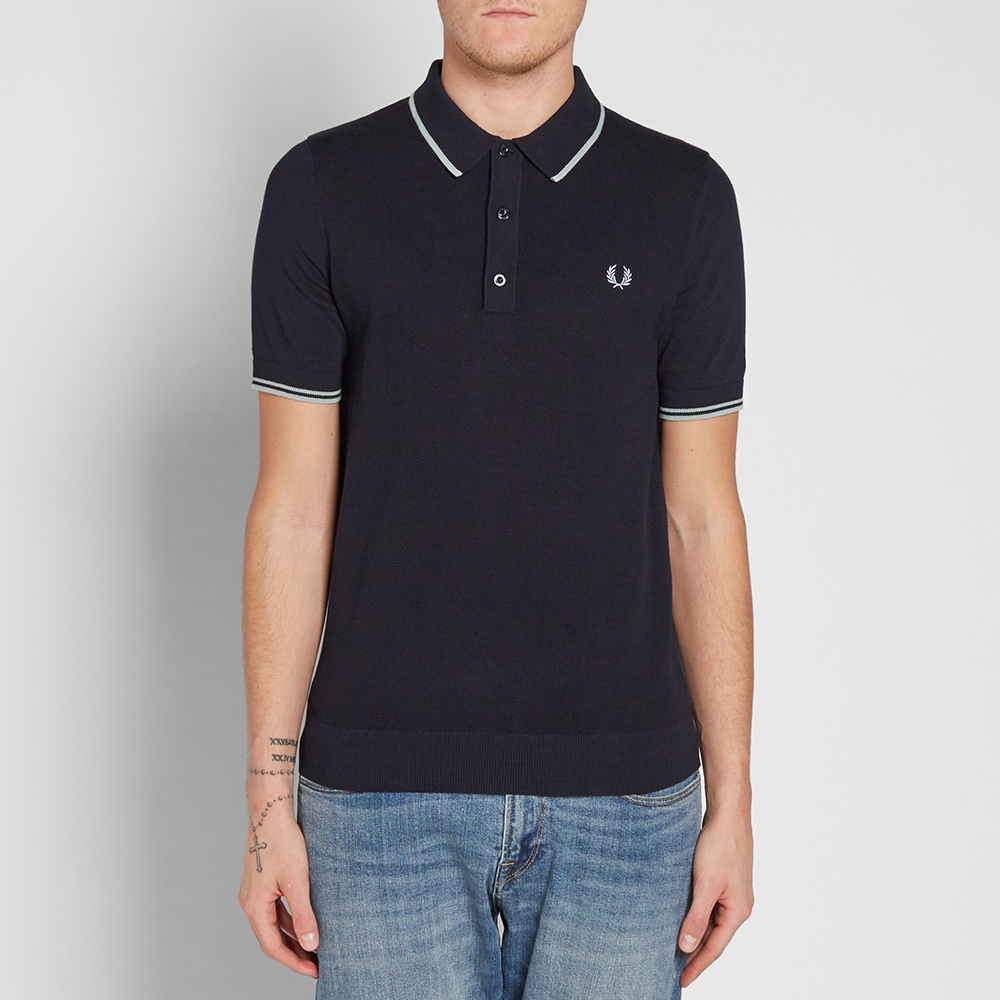 fred perry knitted polo navy. Black Bedroom Furniture Sets. Home Design Ideas