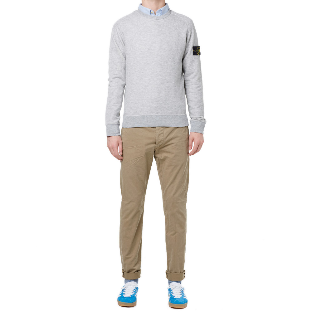 Stone Island Melange Fleece Crew Sweat (Light Grey)
