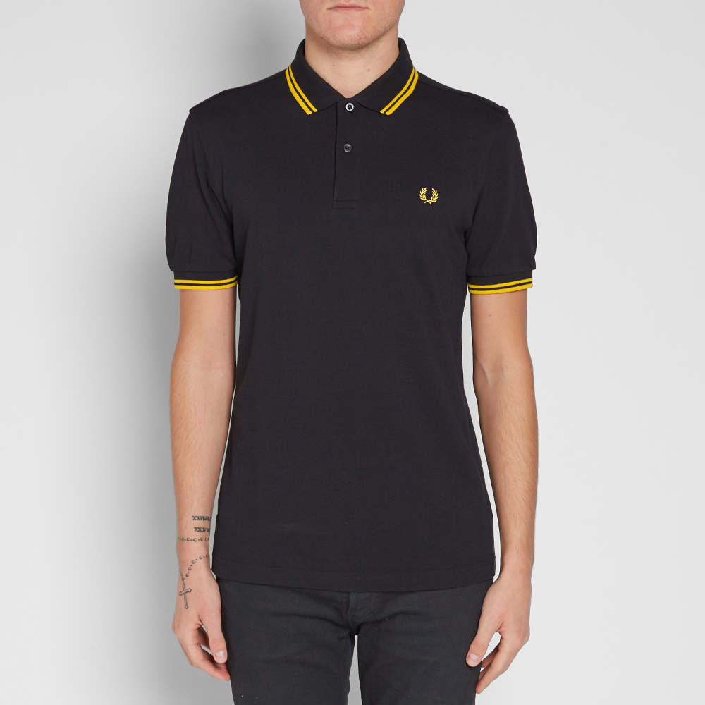 fred perry slim fit twin tipped polo black yellow. Black Bedroom Furniture Sets. Home Design Ideas