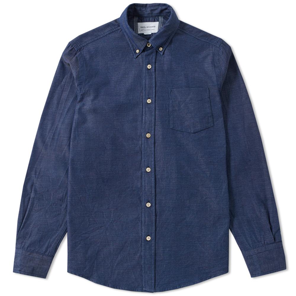 Tripl Stitched Button Down Slub Chambray Shirt