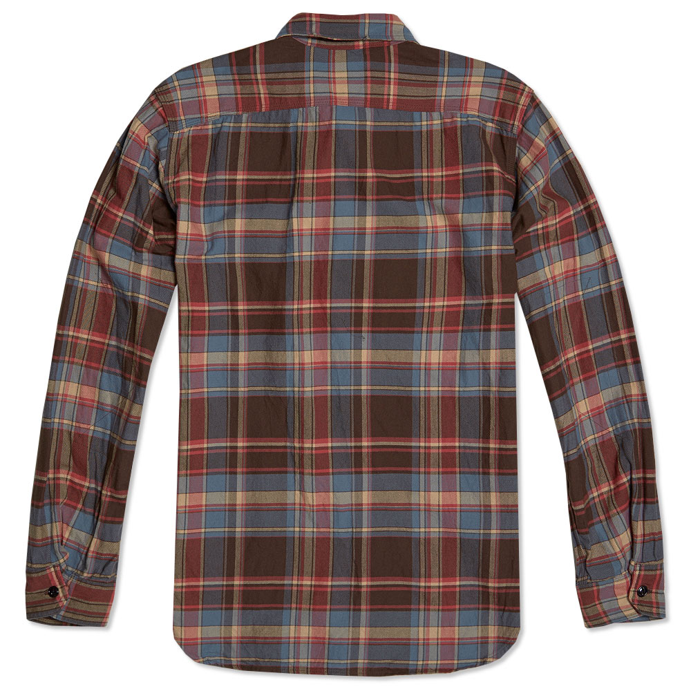 engineered garments work shirt brown blue cotton plaid. Black Bedroom Furniture Sets. Home Design Ideas