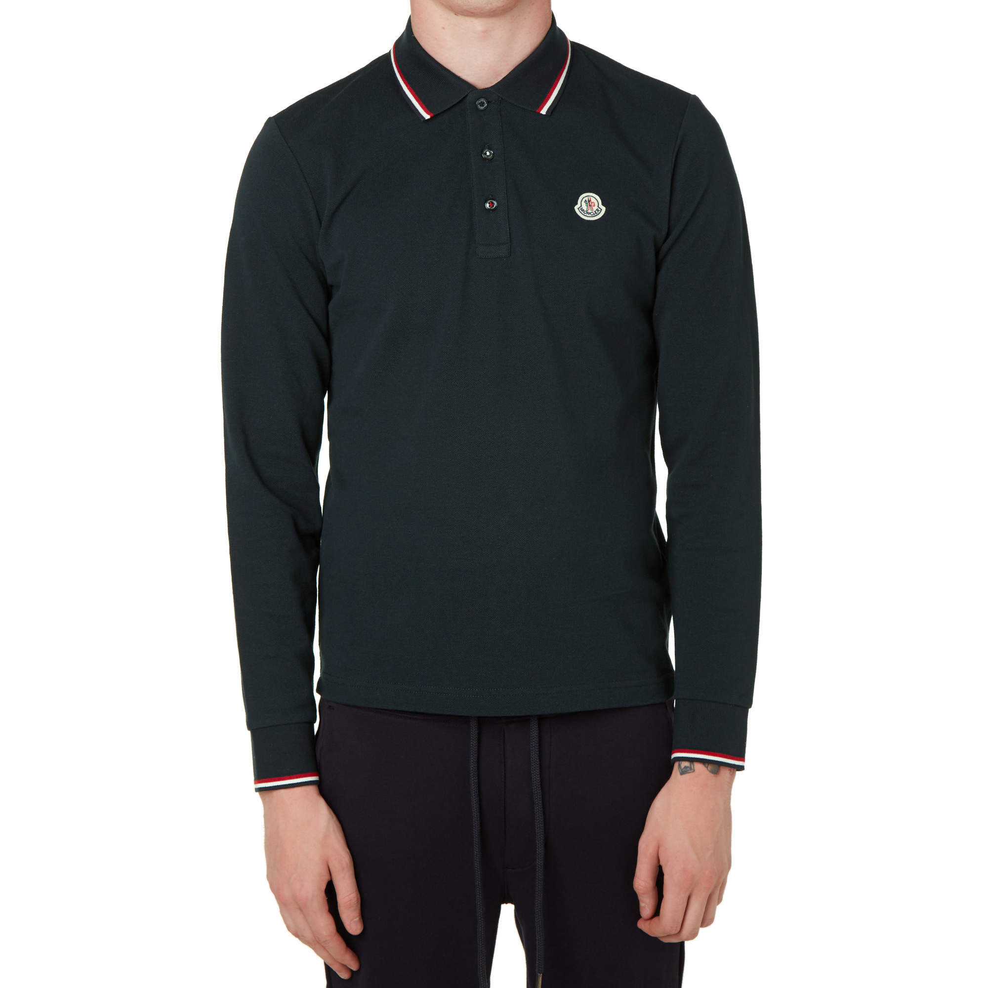 moncler long sleeve slim fit pique polo navy. Black Bedroom Furniture Sets. Home Design Ideas