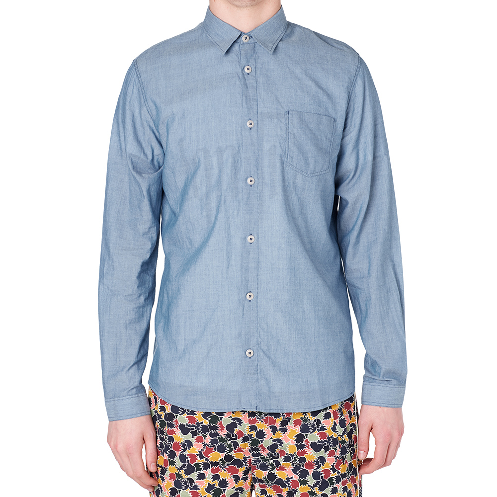 Folk chambray patch shirt light chambray for Chambray 7 s