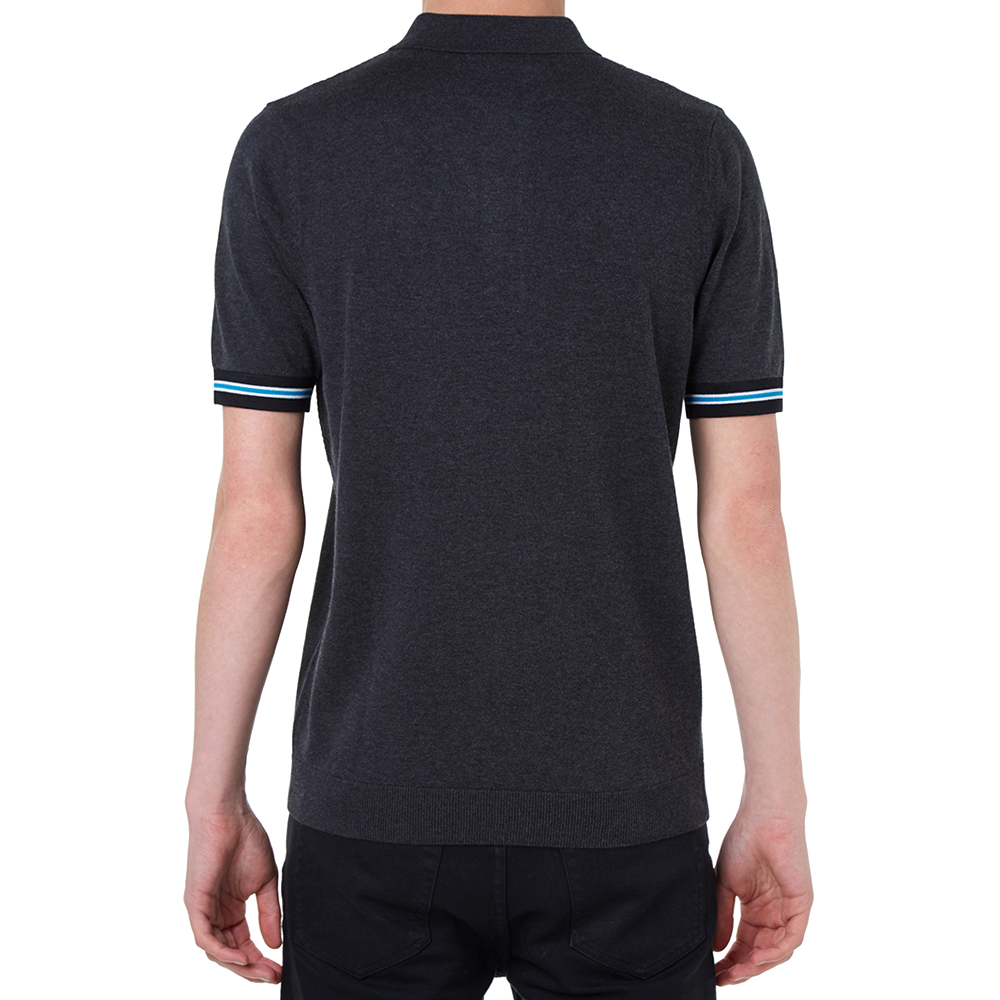 fred perry textured panel polo charcoal marl. Black Bedroom Furniture Sets. Home Design Ideas