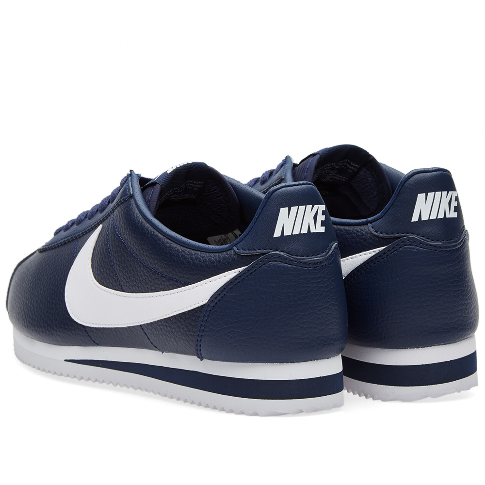 nike classic cortez leather midnight navy white. Black Bedroom Furniture Sets. Home Design Ideas
