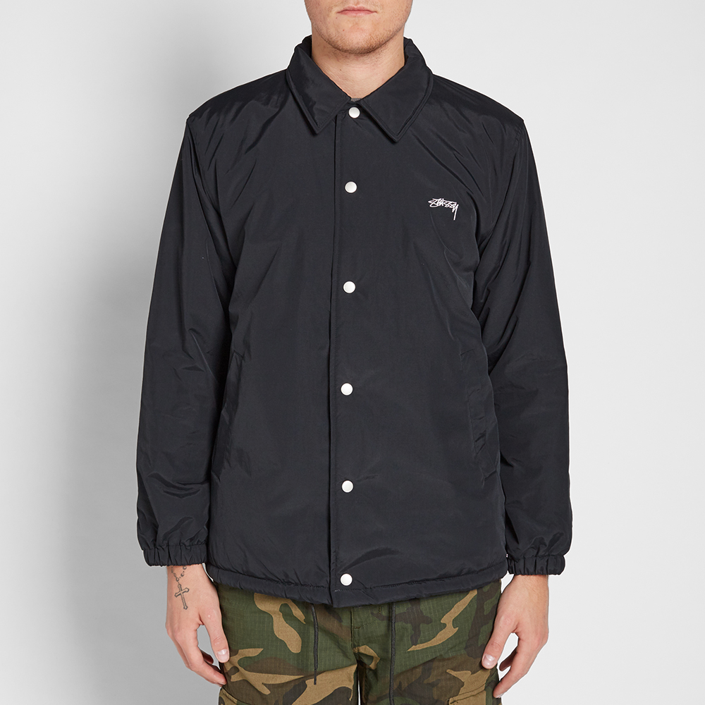 Stussy smooth stock coach jacket black for Coach jacket