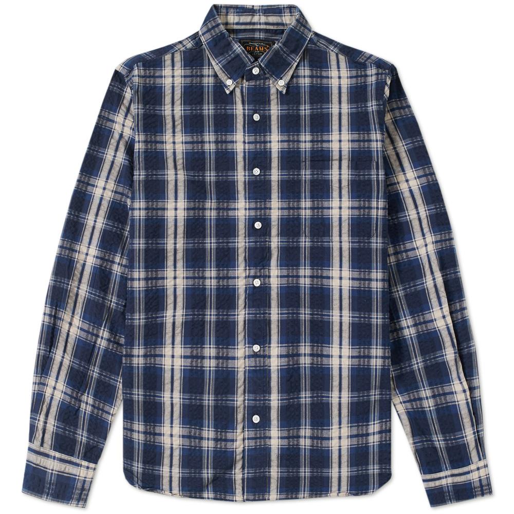 Beams Plus Button Down Seersucker Check Shirt
